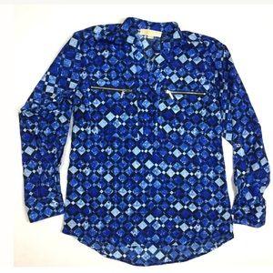 MK zippered printed dressy top shirt work small